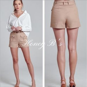 Luxury LINEN High-Rise Belted Shorts:Small NWT.